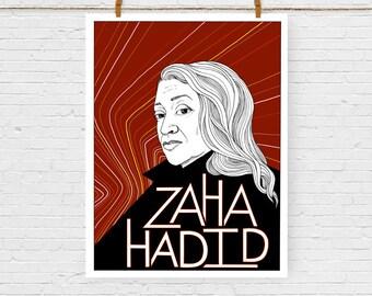 Zaha Hadid Portrait Print, Feminist Art, Feminism, Giclee Art Print