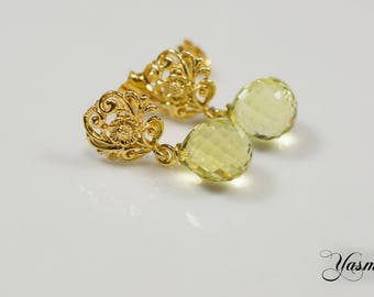 Faceted Citrinpampeln on gold-plated 925 silver