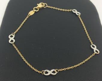 14K Two-Tone Gold Infinity Bracelet