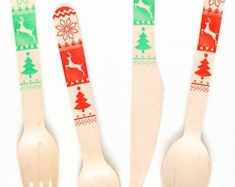 Christmas Sweater - Forks Spoons Or Knives - Perfect Alternative To Plastic Utensils For Parties