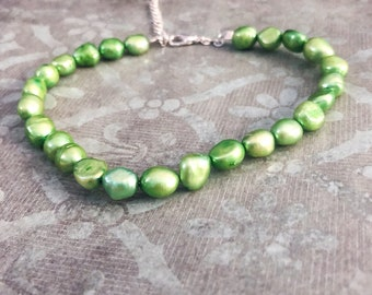 Bright Green Pearl Anklet, Beaded Anklet