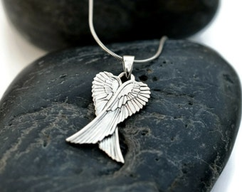 Angel Wings Silver Pendant - Wings Charm with Silver Chain - 925 Angle Wings Necklace - Trendy Wings Silver Necklace - Men Wings Necklace