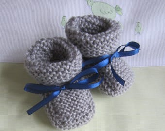 Baby size 0/3 month gray colors - handmade knit