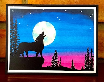 Wolf Moon - Greeting Card, A2, Blank or Choice of Text, Handmade, Print of Original Watercolor Painting