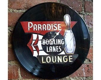 retro bowling clock rockabilly 1950s vintage bowling alley sign mid century kitsch