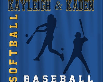 Softball and Baseball Combo Custom Colors Shower Curtain - Custom design for shared bathroom - Any Sport, ANY colors & Accent, Personalized