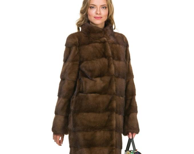 Brown Mink Fur Coat F838