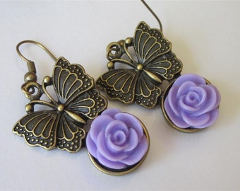 Spring Earrings, Spring Jewelry, Lavender Butterfly Earrings, Purple Rose Dangle, Antiqued Bronze, Butterfly Drop Earrings