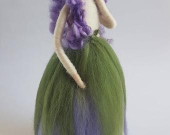 Needle felted fairy, purple fairy, flower fairy, viloet flower, garden fairy, Waldorf inspired OOAK needle felt, felt sculpture, felted