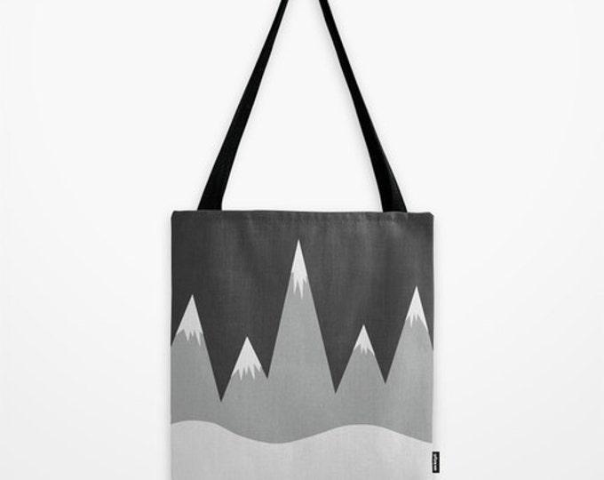 Mountain Peaks Tote Bag - Grocery Bag - Beach Bag - Book Bag - Original Drawing Mountians - Made to Order
