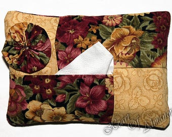 YoYo Tissue & Kleenex Holder. For Purse, Gift, Stocking Suffer, Teacher, Student Gift in dark rose and light golden yellow.