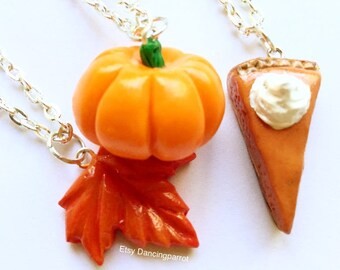 3 necklaces! Pumpkin necklace Maple leaf necklace Pumpkin pie necklace Thanksgivning necklace Thanksgiving jewelry Autumn necklace Cute gift