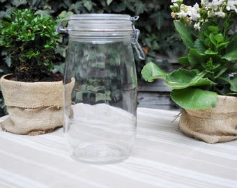 Transparent Glass Canning Jar with Metal Clasp / Clear Glass Jar / French Vintage / Mason Jar / French Kitchen / Canister / Candle holder
