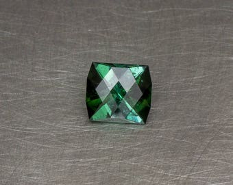 Deep Blue Green Tourmaline Loose Natural and Untreated Modern Checkerboard Faceted Gemstone
