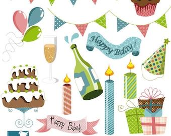 Colorful Birthday -  Digital Scrapbooking Clipart  - card design, invitations, paper crafts, web design - INSTANT DOWNLOAD