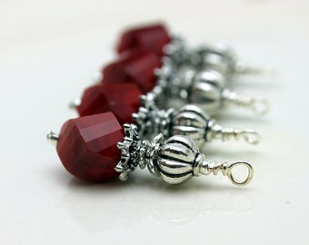 Vintge Style Ruby Red Twisted Helix Crystal with Silver Bead Dangle Charm Drop Set - Earring Dangle, Charm, Drop, Pendant