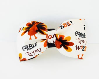 Thanksgiving Dog Bow Tie, Turkey Dog Collar Bow, Holiday Cat Bow Tie, Gobble Collar Flower, Brown Dog Bow Tie