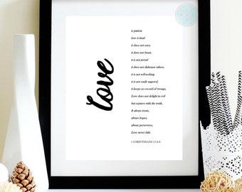 Love is Patient, Love is Kind, Bible Verse Print, 1 Corinthians 13 : 4-8, Christian Print, Bible Print, Bible Art, Scripture Printable,