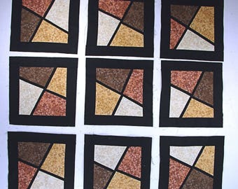 9 -11 inch 100% Cotton Quilt blocks in another Stained Glass Style. Nice indeed