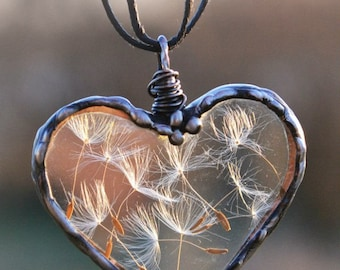 Dandelion Wish necklace, Handmade Heart Necklace, Dandelion Seed Jewelry, Terrarium Jewelry, Dandelion pendant, Plant jewelry, Wire wrapped