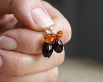 Amber Earrings Stud . Natural Amber Earrings Sterling Silver . Stud Dangle Earrings Amber . Healing Amber Jewelry