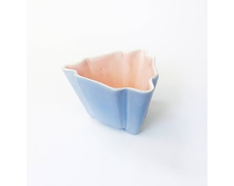 Mid Century Triangular Lavender and Pink Planter