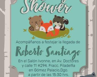 Baby shower Invitation printable for children-theme Woodland