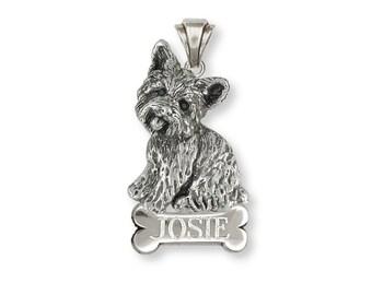 Yorkie Yorkshire Terrier Pendant Jewelry Sterling Silver Yorkie Yorkshire Terrier Dog Pendant YK34-NP