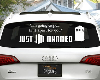 Dr. Who Just Married Wedding Vinyl Decal