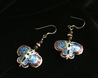 Enamel butterflies with garnet and ethnic silver, sterling wires