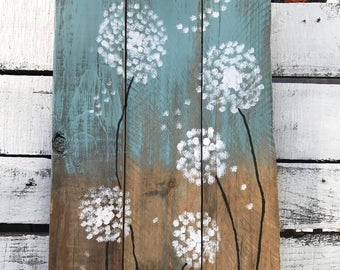 Dandelion art, pallet wall art, wall art, pallet wall sign, pallet sign, reclaimed wood, recycled wood, spring art, colorful art
