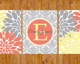 Floral Flower Burst Coral Yellow Grey Nursery Damask Monogram entryway  Wall Baby Decor Bedroom Family Name Decor 8x10 DIY Printable (70-c)