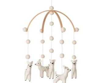 baby mobile - nursery decor - deer mobile - felt balls - white - felt MADE TO ORDER Scandinavian