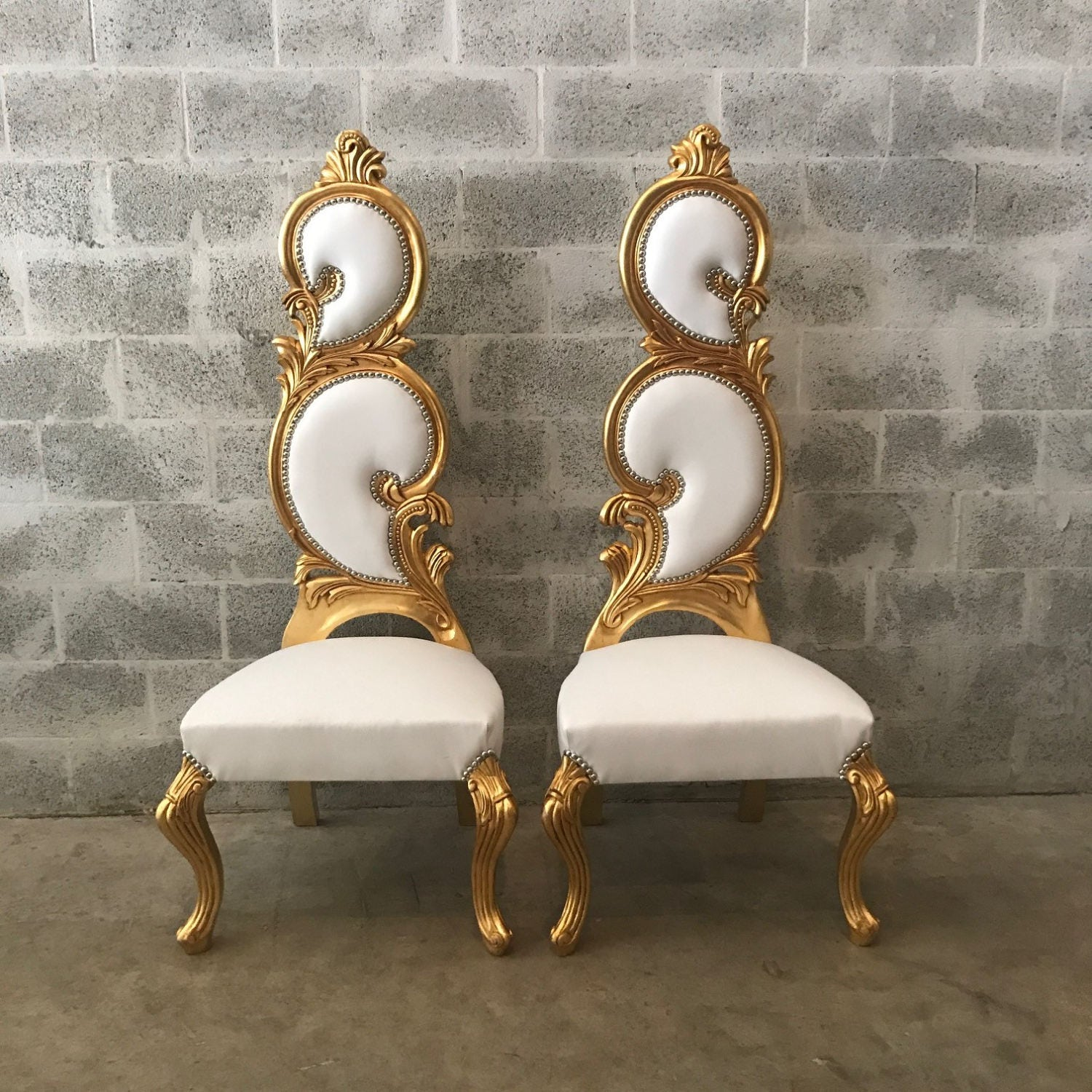 Italian Baroque Throne Chair High Back Reproduction White Leather