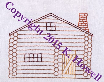 Cabin Hand Embroidery Pattern, Log Cabin, Woods, PDF