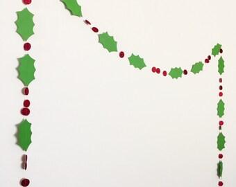 Holly Garland. Christmas Garland. Holiday Garland. Christmas Paper Garland.
