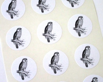 Owl Stickers One Inch Round Seals