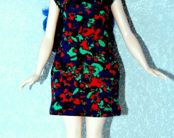 Dress fits Curvy Barbie fashionista fashion doll clothes blue-green-red marble print A4B190