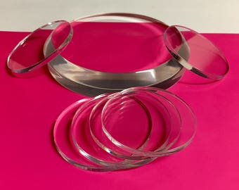 """Acrylic/Lucite Laser cut Display Discs - 4"""" diameter x 3/16"""" thick - Qty of 10"""