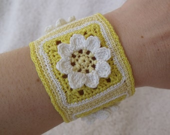 Crochet Bracelet Bangle or Cuff with Flowers in Yellow