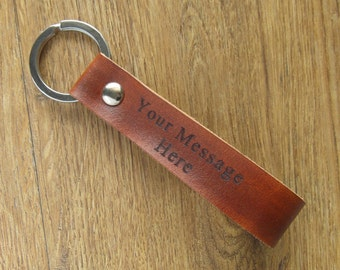 Custom engraved leather keychain, personalized leather keyring, leather keychains, key fob for men and women
