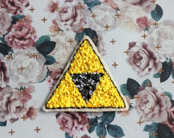 Floral Triforce Hand Embroidered Patch