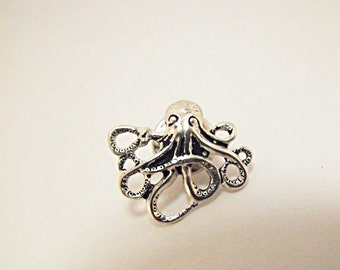 Tie Tack Lapel Pin,   Mens Steampunk  Silver Octopus  Mens Accessories  Handmade