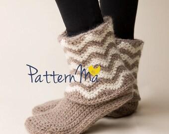 Crochet Slipper Pattern chevrons (Women's size 5-12)  #35