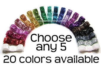 Pick 5 Glitter Hair Clips, Holiday Hair Clips, Glitter Hairbows, Sparkly Tuxedo Bows, Glam, Glittery, Shiny, Baby Toddler Girls Women