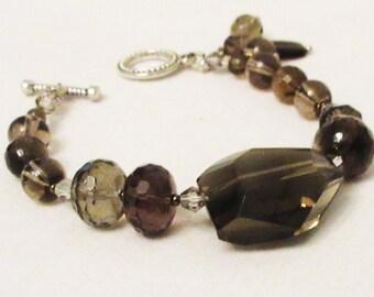 Smokey Quartz Jewelry, Handmade Assymetrical Smokey Quartz Bracelet,