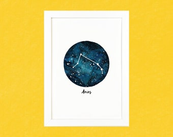 Aries Zodiac Luxury Watercolour Illustration Print - A5 or A4