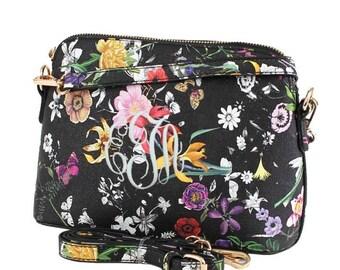 Black Floral Monogram Crossbody Bag, Leather Purse, Leather Bag, Shoulder Bag, Embroidered Clutch Purse, Preppy Cross body Bag, Gift
