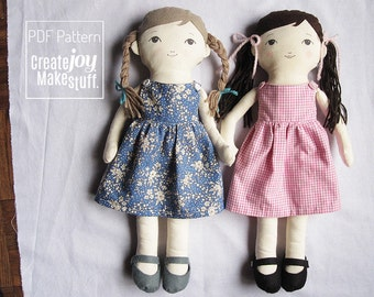 "18"" Doll Sewing Pattern with dress and felt shoes, Tutorial, PDF cloth dress-up doll pattern, rag doll"