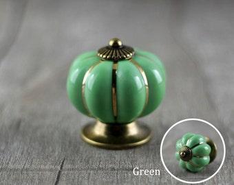 Ceramic Pumpkin Knobs Kitchen Dresser Knob / Drawer Knobs Pulls Handles / Porcelain Pumpkins Decorative Hardware